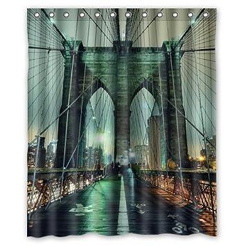 Amazon.com: Custom New York City Manhattan Brooklyn Bridge Shower ...