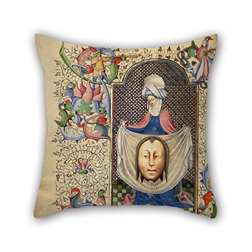 Bestseason The Oil Painting Master Of Guillebert De Mets (Flemish, Active About 1410 - 1450) - Saint Veronica Displaying The Sudarium Pillow Covers Of ,16 X 16 Inches / 40 By 40 Cm Decoration,gift F