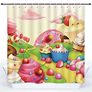 SCOCICI Polyester Shower Curtain,Modern,Yummy Donuts Sweet Land Cupcakes Ice Cream Cotton Candy Clouds Kids Nursery Design,Multicolor,Polyester Shower Curtains Bathroom Decor Set with Hooks