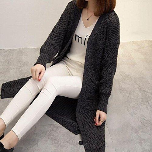 Gilet Avec Hiver Longue Aeneontrue Coat Manche Noir Sweater Chandail Femme Deux Outwear Poches Cardigan CqA6xfABw