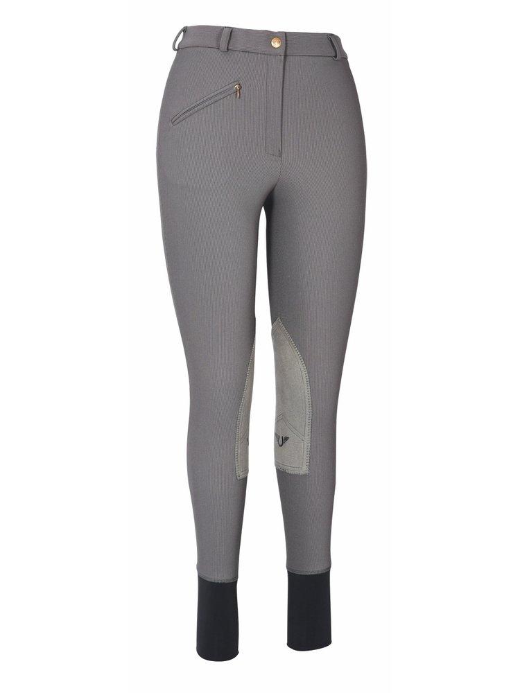TuffRider Women's Ribb Knee Patch Breeches (Regular), Dark Charcoal, 24