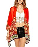 OLRAIN Women's Floral Print Sheer Chiffon Loose Kimono Cardigan Capes Red Medium