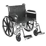 "Sentra EC Heavy Duty Wheelchair, Detachable Full Arms, Swing away Footrests, 24"" Seat"