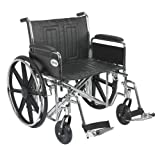 """Drive Medical Sentra EC Heavy Duty Wheelchair with Various Arm Styles and Front Rigging Options, Black, Bariatric 24"""""""