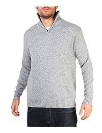 KRISP Mens Soft Woolen Knit Zip Up Funnel Turtle Neck Grandad Cardigan Jumper Sweater