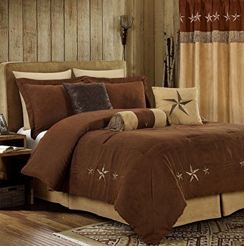 Chezmoi Collection 7 Pieces Western Star Embroidery Design Microsuede Bedding Oversized Comforter Set (Full 90