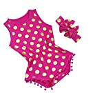 iiniim Newborn Baby Girls Summer Romper Headband Set Polka Dots Bodysuit (6-9 Months, Hot Pink)
