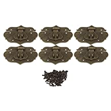 BQLZR 76x58mm Bronze Zinc Alloy Chinese Style Decorative Latch Lock Catch Hasp for Jewelry Box Wooden Box Wine Box Pack of 6