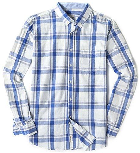 Plaid Dress Shirt - MiCotton Mens Long Sleeve Regular Fit Plaid Button Down Casual Dress Shirts