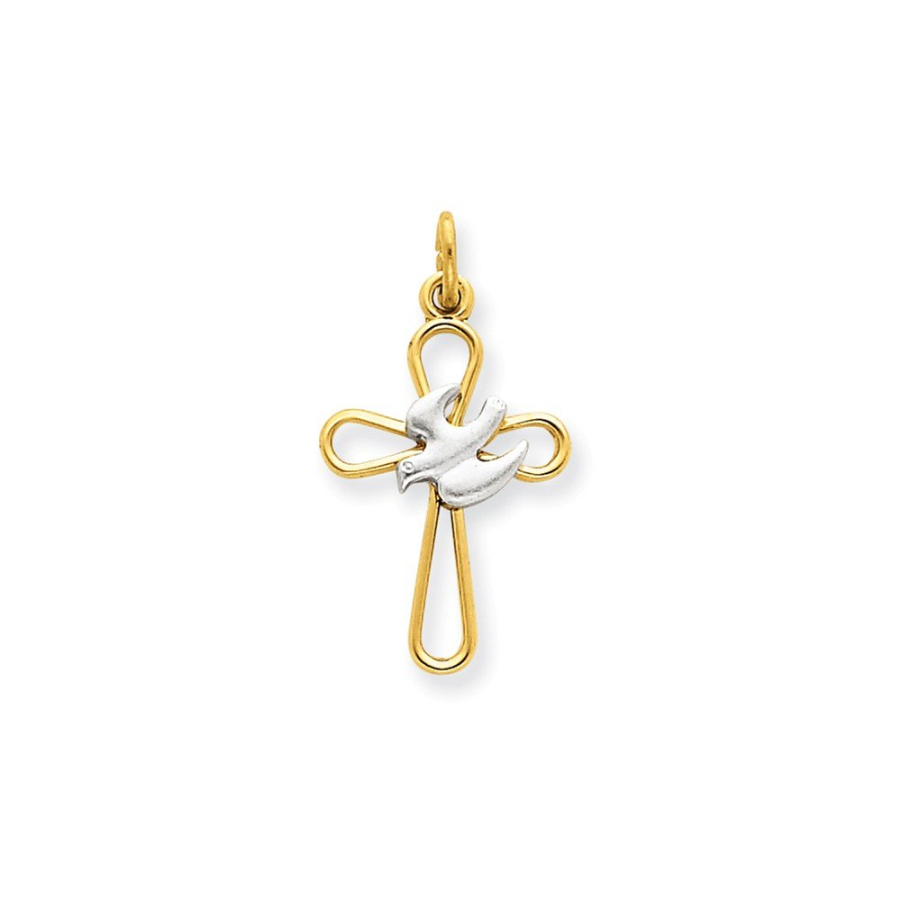18k Gold-plated & Sterling Silver Holy Spirit Cross with Dove Charm QC5909