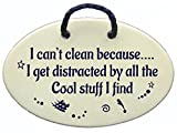 I can't clean because...I get distracted by all the Cool stuff I find. Ceramic wall plaques handmade in the USA for over 30 years. Reduced price offsets shipping cost.