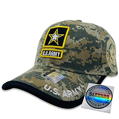 DANKONG Acrylic Military Hat - US Warriors Official Licensed Army Hat 3D Embroidered with Size Adjustable Hoop and Loop Closure for Men and Women - U.S.Army-Black Line-Green ()