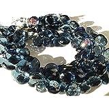 4 Inches Strand, 18 Pcs, London Blue Topaz Mystic Quartz, Micro Faceted Heart Briolettes, 11x11mm Beads