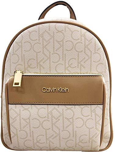 (Calvin Klein Mercy Signature Monogram Key Item Backpack, Small Size White)