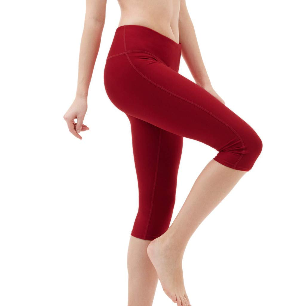 Womens Yoga Trousers, High Waist Jogging Pants Tummy Control Workout Running 4 Way Stretch Yoga Leggings Black (M, Red)