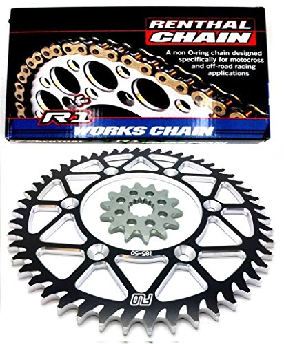 - RENTHAL R1 CHAIN AND SPROCKET COMBO KIT YAMAHA YZ450F / YZ250 13T FRONT / 48, 49, 50, 51 TOOTH BLACK REAR SPROCKET (48T)
