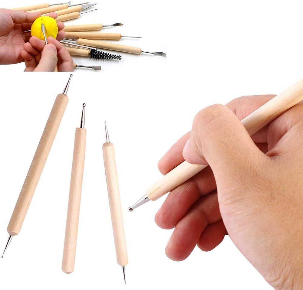 TaoNaisi Bille en Bois Fabrication doutils Outils dargile polym/ère Outils de p/âte /à Modeler Les Outils de gaufrage Sculpture en Terre Cuite 3 pi/èces Set t