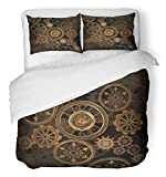 Emvency 3 Piece Duvet Cover Set Breathable Brushed Microfiber Fabric Steampunk Steam Punk Gears Clock Abstract Gold Technology Vintage Bronze Century Bedding with 2 Pillow Covers Full/Queen Size