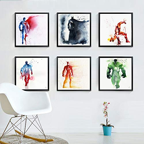 Living Room Superhero Wall Stickers Avengers Wall Art Photos Decorative Painting 6 Large Sheets 11.8x11.8in Hero Character Miracle Wall Decals for Children Babies Kids Bedroom Wall Decoration