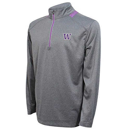 Crable Adult NCAA Men's Quarter Zip with Neck Panel, Heather Gray/Purple, Large ()