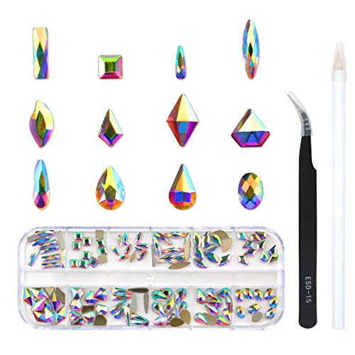 120 Pcs Multi Shapes Glass Crystal AB Rhinestones For Nail Art Craft, Mix 12 Style FlatBack Crystals 3D Decorations Flat Back Stones Gems Set (120 pcs Crystals)