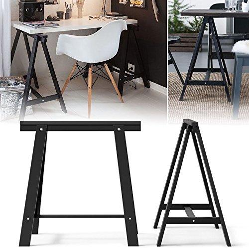 Set of 2 Durable Solid Wood Trestle Legs for Table , Desk or Workstation , Black