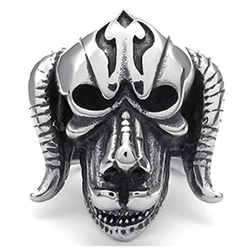 Facing Antique Pull - Stainless Steel Ring for Men, Sheep Head Ring Gothic Silver Band 31MM Size 13 Epinki