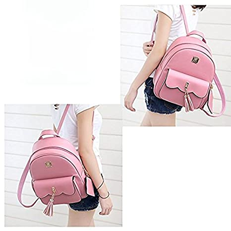 DWE PU Leather Women Backpack,Black Small School Bag Travel Rucksack for Teenage Girls Black