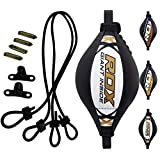 RDX Double End Speed Ball Bag Leather Boxing Floor to Ceiling Rope MMA Training Muay Thai Punching Dodge Striking Speed Ball Kit Workout Adjustable Bungee Cord