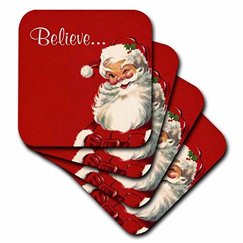 Russ Billington Christmas Designs - Believe-Jolly Vintage Santa Illustration on Red Background - set of 4 Coasters - Soft (cst_219375_1)