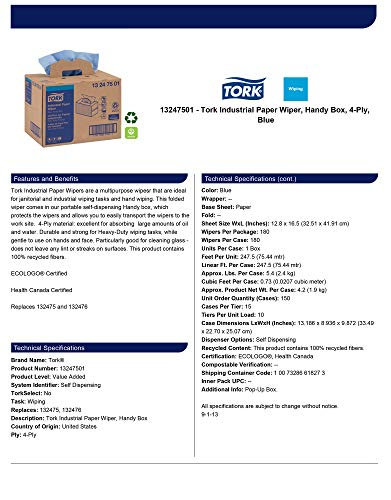 Tork 13247501 Industrial papel Limpiaparabrisas, caja, 4 capas, 12,8