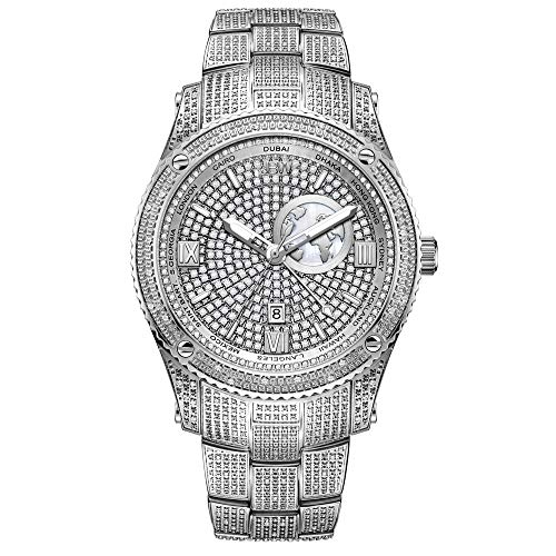 JBW Luxury Men's Jet Setter GMT J6370B 1.00 Karat Diamond Wrist Watch with Gold-Plated Stainless Steel Bracelet ()