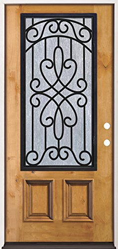 3/4 Iron Grille Pre-stained Knotty Alder Prehung Wood Door Unit #62 - Exterior Home Doors