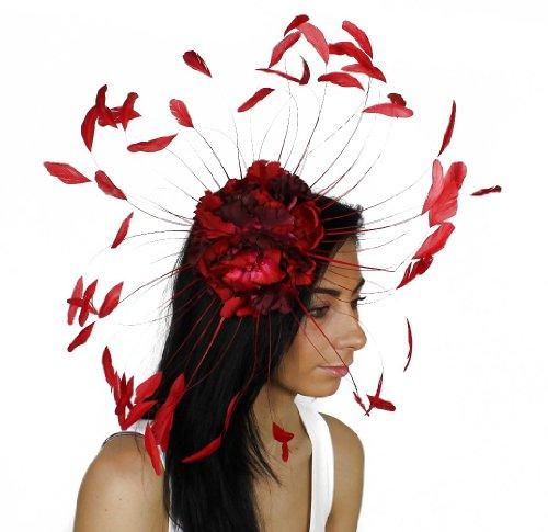 Ascot Motif fleur et plumes monté sur serre-tête avec chapeau