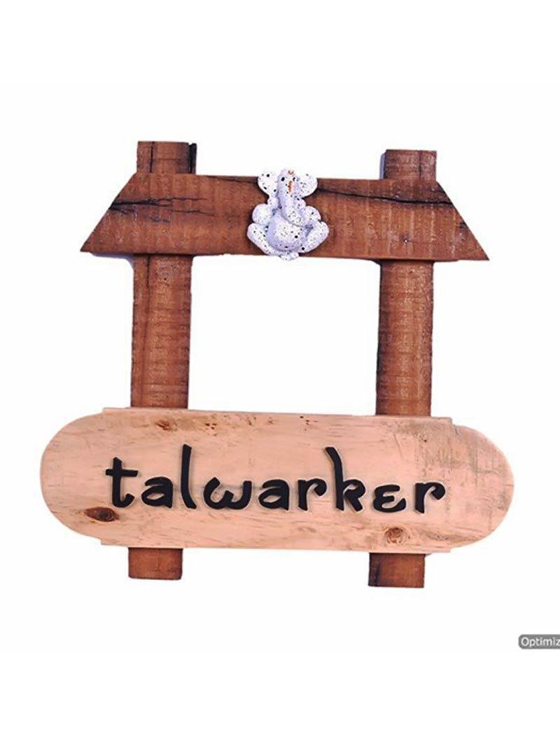 Karigaari India Wooden Talwarker Name Plate
