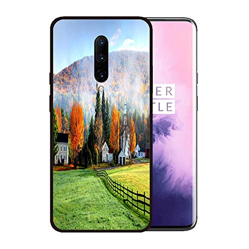 Case for OnePlus 7 pro,Silicone Cover and Tempered Glass 2 Materials,Non-Slip, Anti-Drop, Anti-Scratch,Depict- Autumn Mist in The Village of Tyringham in The Berkshires