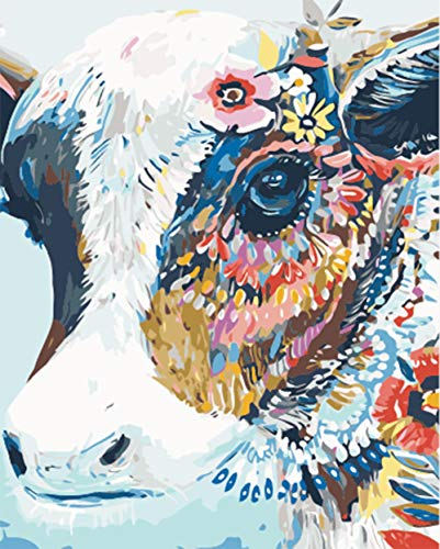 WOWDECOR Paint by Numbers for Adults Beginner Kids, Number Painting - Animal Colorful Cow 40x50 cm - Wall Art Gifts (Cow, Framed) (On Owl Canvas)