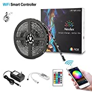 Nexlux LED Strip Lights, Wifi Wireless Smart Phone Controlled Light Strip Kit 16.4ft 150leds Waterproof IP65 LED Lights ,Working with Android and IOS System,Alexa, Google Assistant 5050