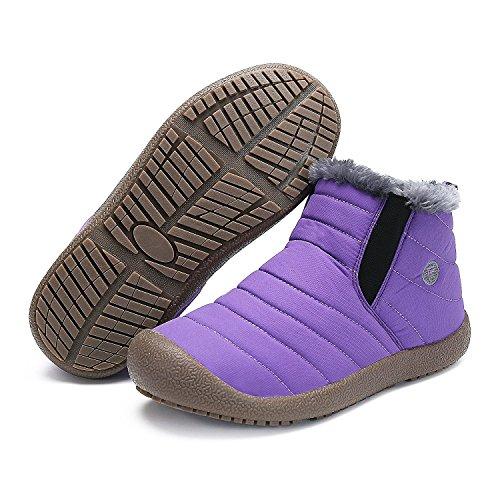 Fourrées Homme Minetom Unisexe A Waterproof Femmes Printemps Basse Chaudes Chaussures Hautes Plates Boots Pour Bottes Violet Bottines qU6BEUr