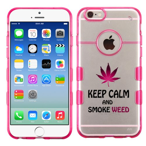 For iPhone 6 Plus (5.5) Keep Calm And Smoke Weed Clear/Transparent Gummy Cover. (Transparent/Pink)