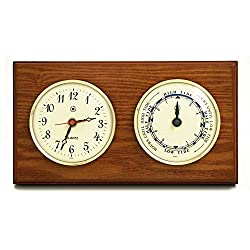 Kensington Row Coastal Collection WEATHER STATIONS -SOUTHAMPTON CLOCK AND TIDE CLOCK - OAK WOOD BASE