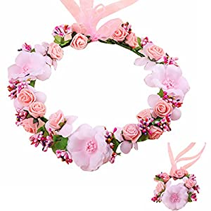 Handmade Rose Flower Wreath Crown Floral Wedding Garland Headband Wrist Band Set for Wedding Festival 74