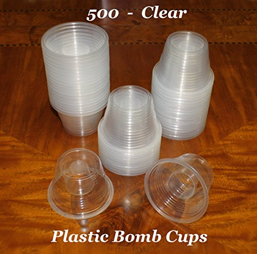 Clear Disposable Plastic Power Bomber Shot Cups or Bomb Glasses]()