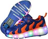 MDNODEQ Roller Shoes Unisex LED Light up Single Wheel Shoes Kids Inline Roller Skates Boy's Girl's