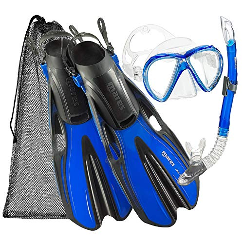 (Mares Marlin Mask Fin Snorkel Set with Shoulder Carry Bag, Blue, Medium/Large)