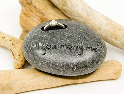 Penguins Pebble Mate (Engagement Ring Holder, Personalized Pebble, Penguin pebble stone, Penguin keepsake, Penguin rock decoration, Personalized love gift, Unique love gift, Love promise, engagement gift, wedding)