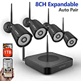 [2019 Newest] Security Camera System Wireless,Safevant 8CH 1080P Security Camera System(1TB Hard Drive),4PCS 960P Indoors&Outdoors Wireless Security Cameras,Auto-Pair,Plug&Play,NO Monthly Fee
