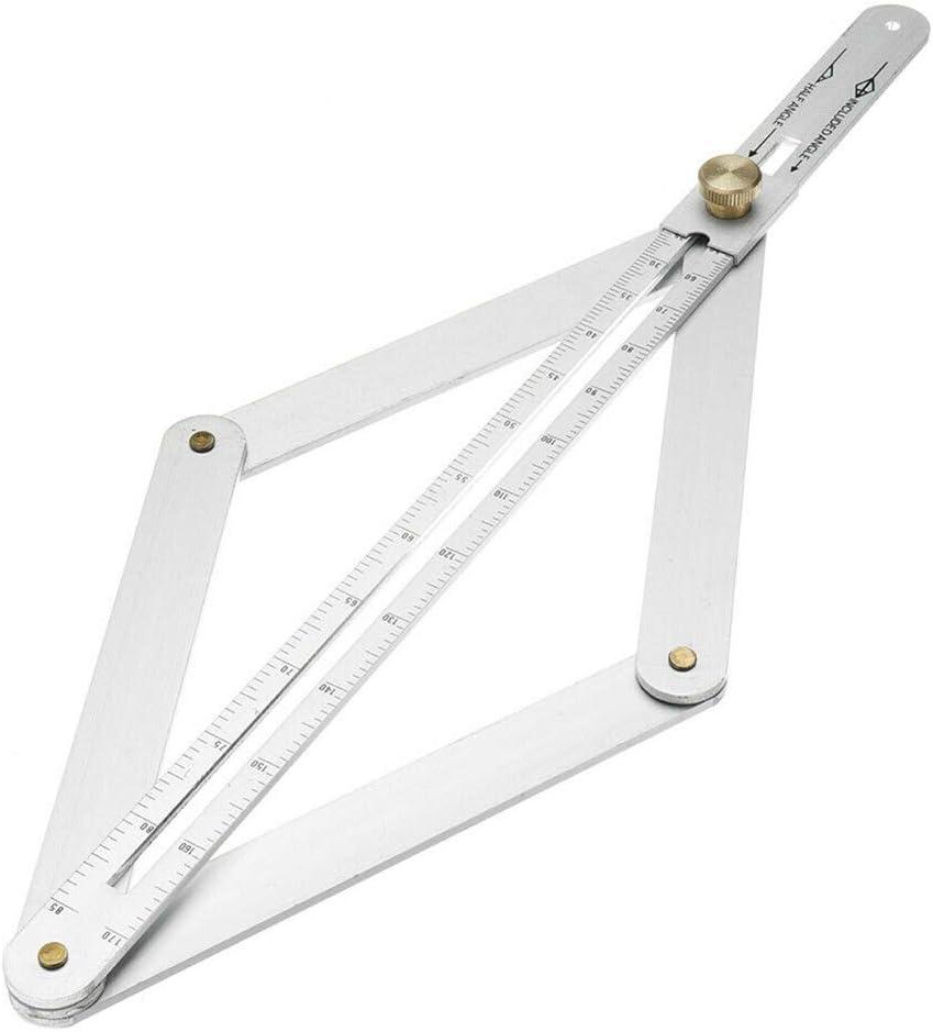 Doolland R/ègle de Mesure dangle rapporteur de Cadre Multi-Angles Outil de Mesure du Bois Facile /à Utiliser avec pr/écision pour ing/énieur Menuisier Silver