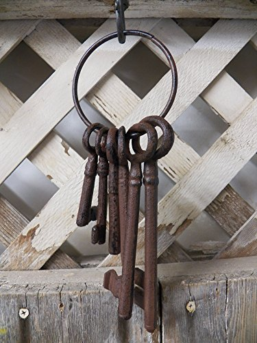 Antique-Style Reproduction Cast Iron Set Lot of 6 Large JAILERS KEYS Ring Jail Western Prison (Jailers Keys)