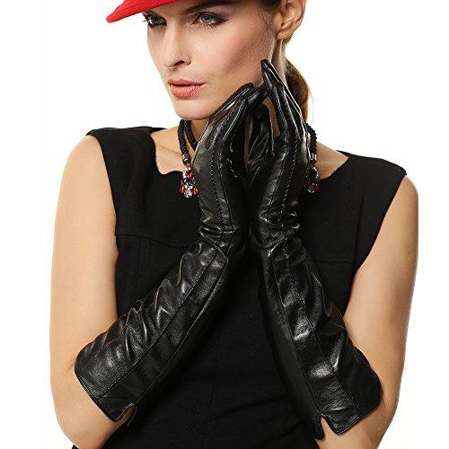 Suntasty Ladies Lambskin Genuine Long Leather Glove For Women (Lambskin Leather Long Gloves)